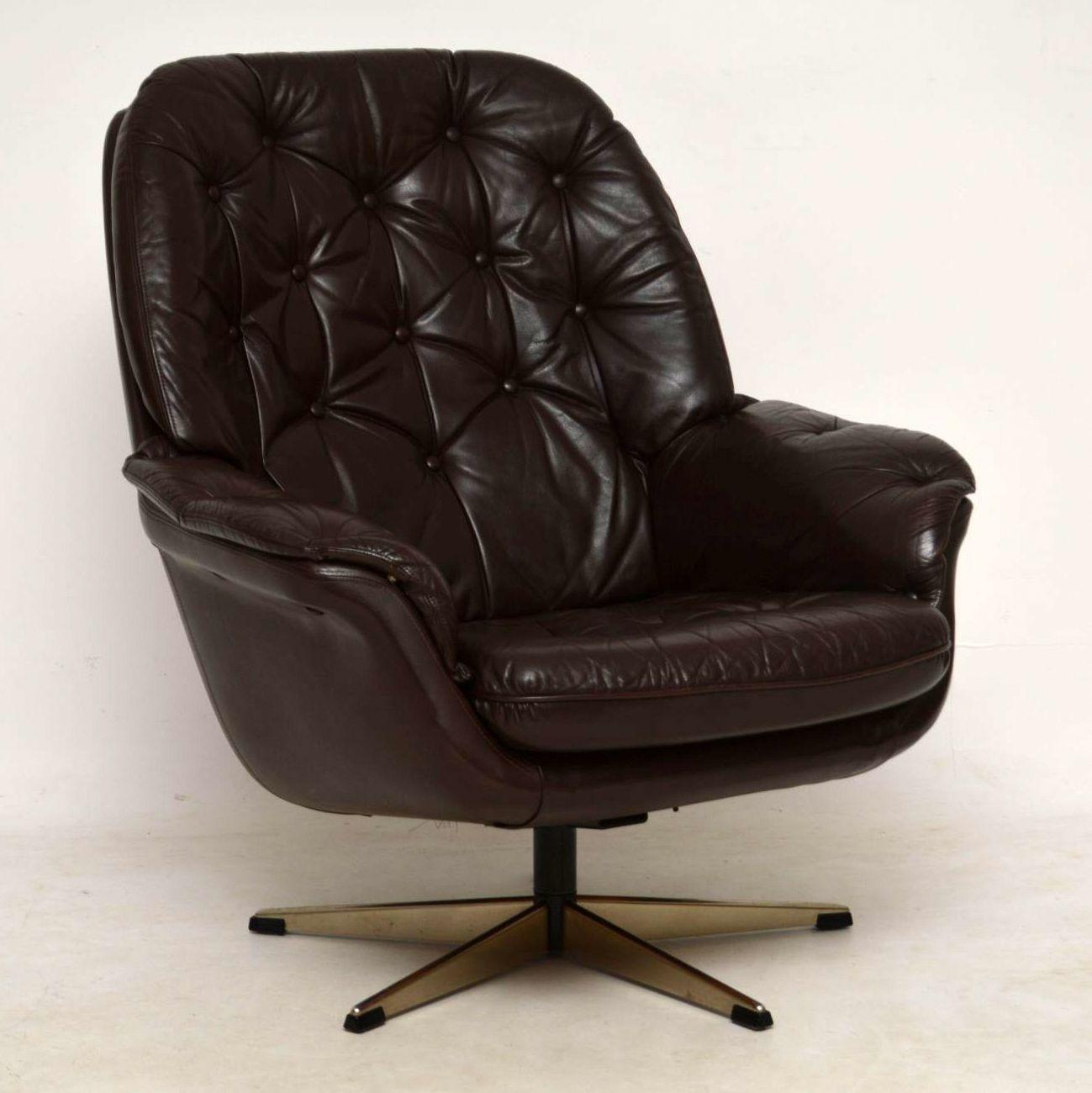 Vintage 70s Leather Swivel Armchair