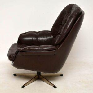 danish vintage leather swivel armchair