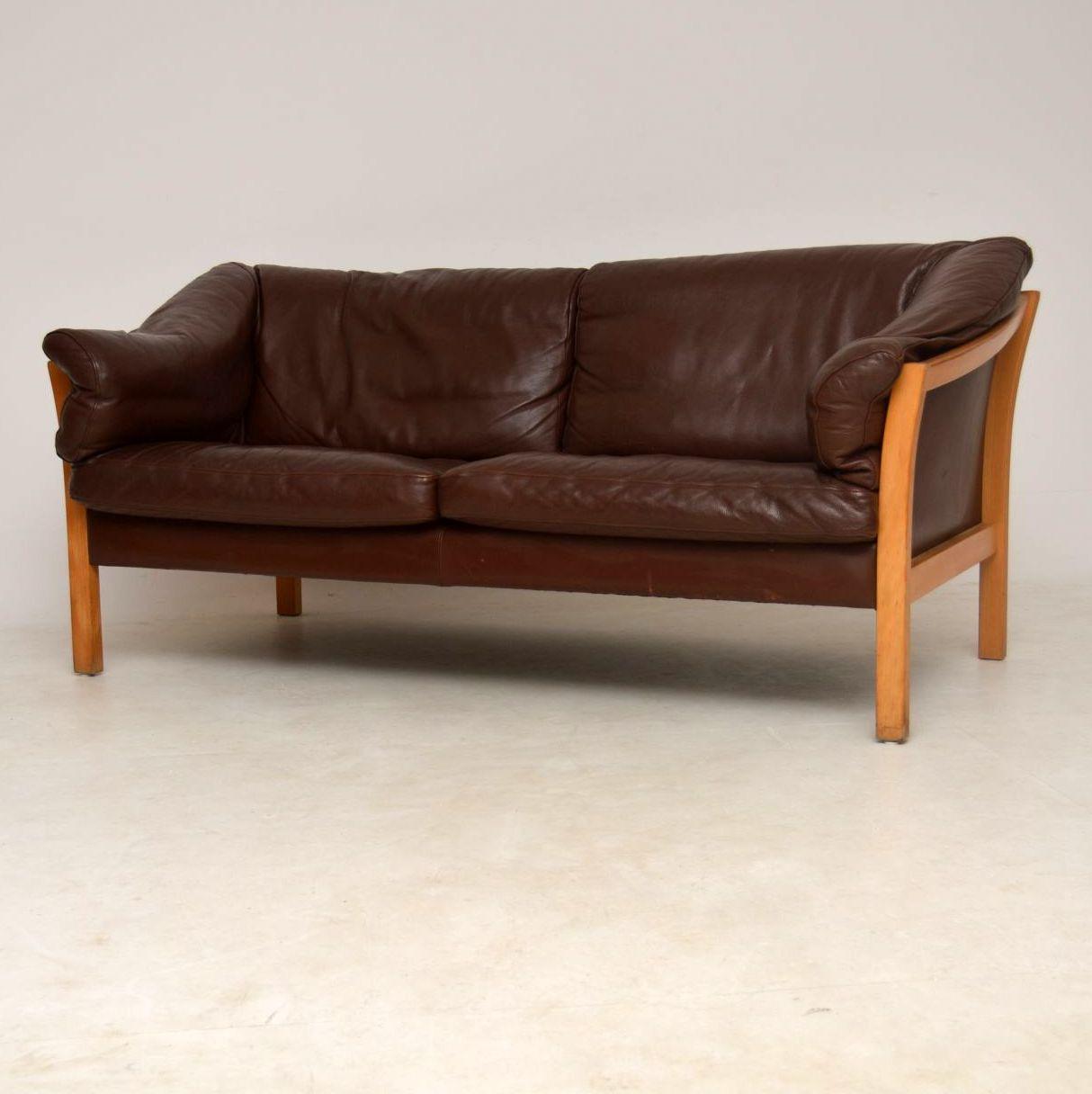 1960 S Danish Vintage Leather Sofa