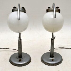 1960's Pair of Vintage Steel & Glass Table Lamps