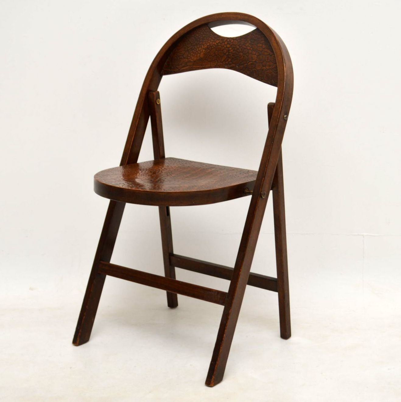 1920 S Set Of Five Vintage Tortoise Shell Bentwood Folding Chairs