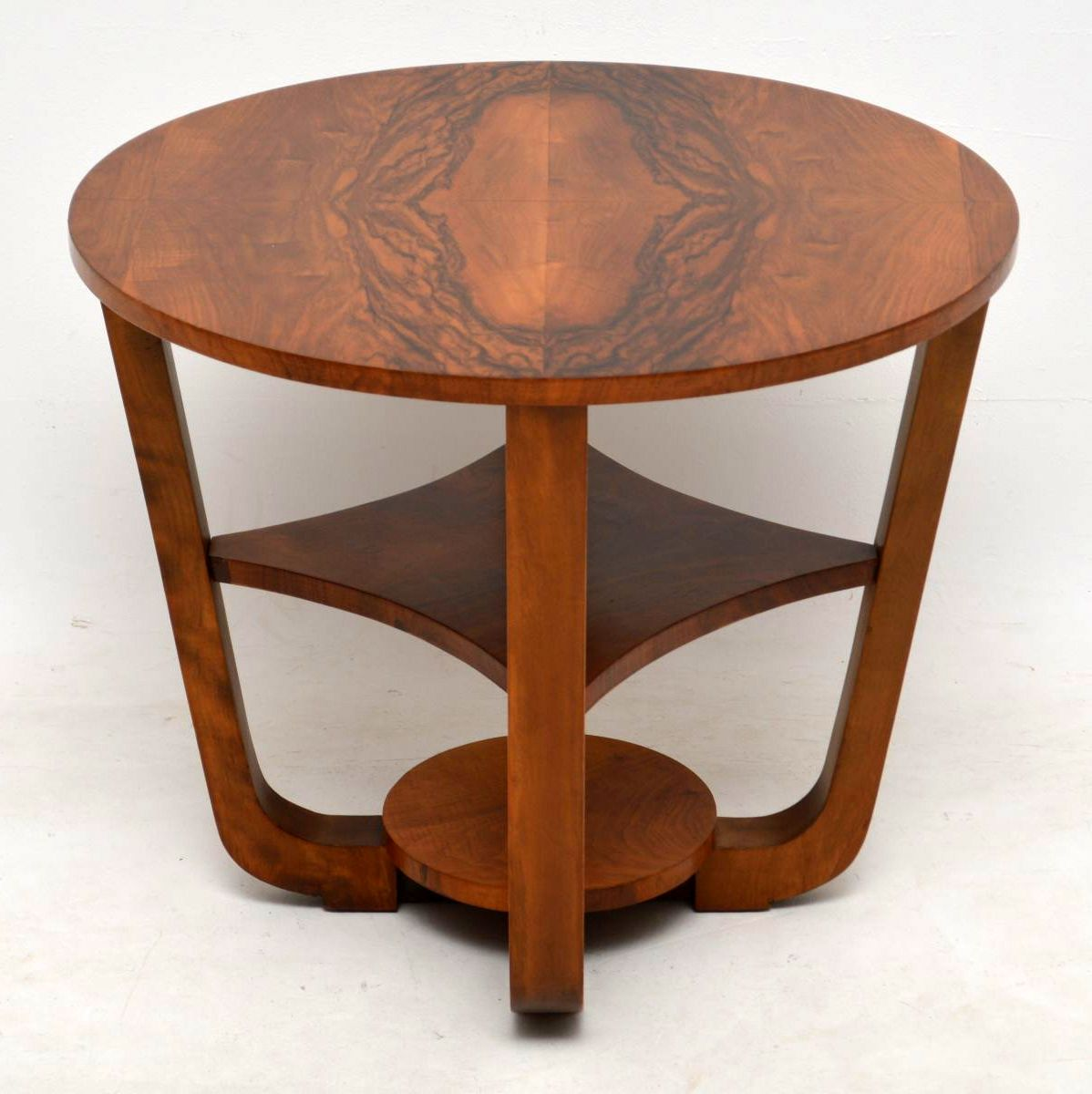 1920's Art Deco Figured Walnut Coffee Table