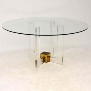 1970's Glass & Lucite Vintage Dining Table
