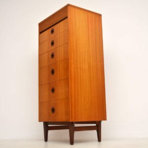 vintage teak tallboy chest of drawers