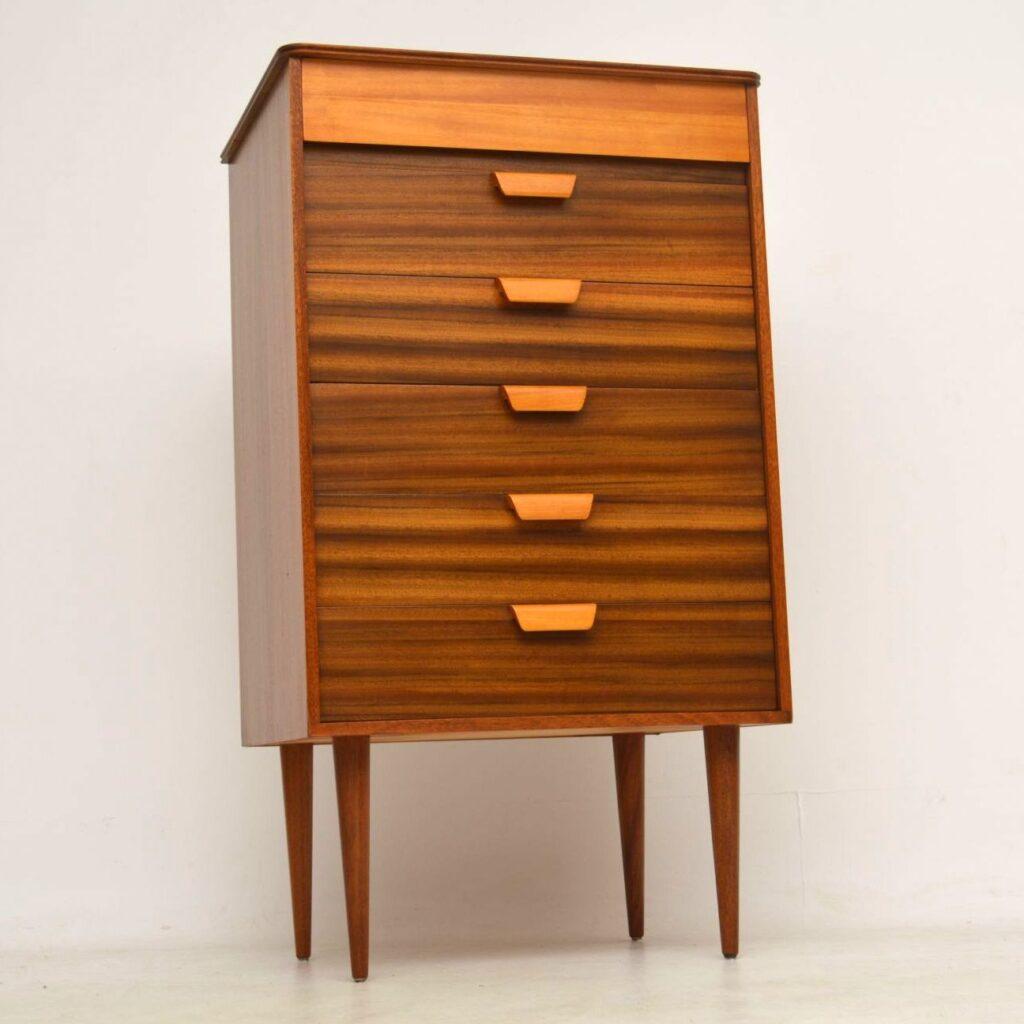 vintage walnut tallboy chest of drawers uniflex