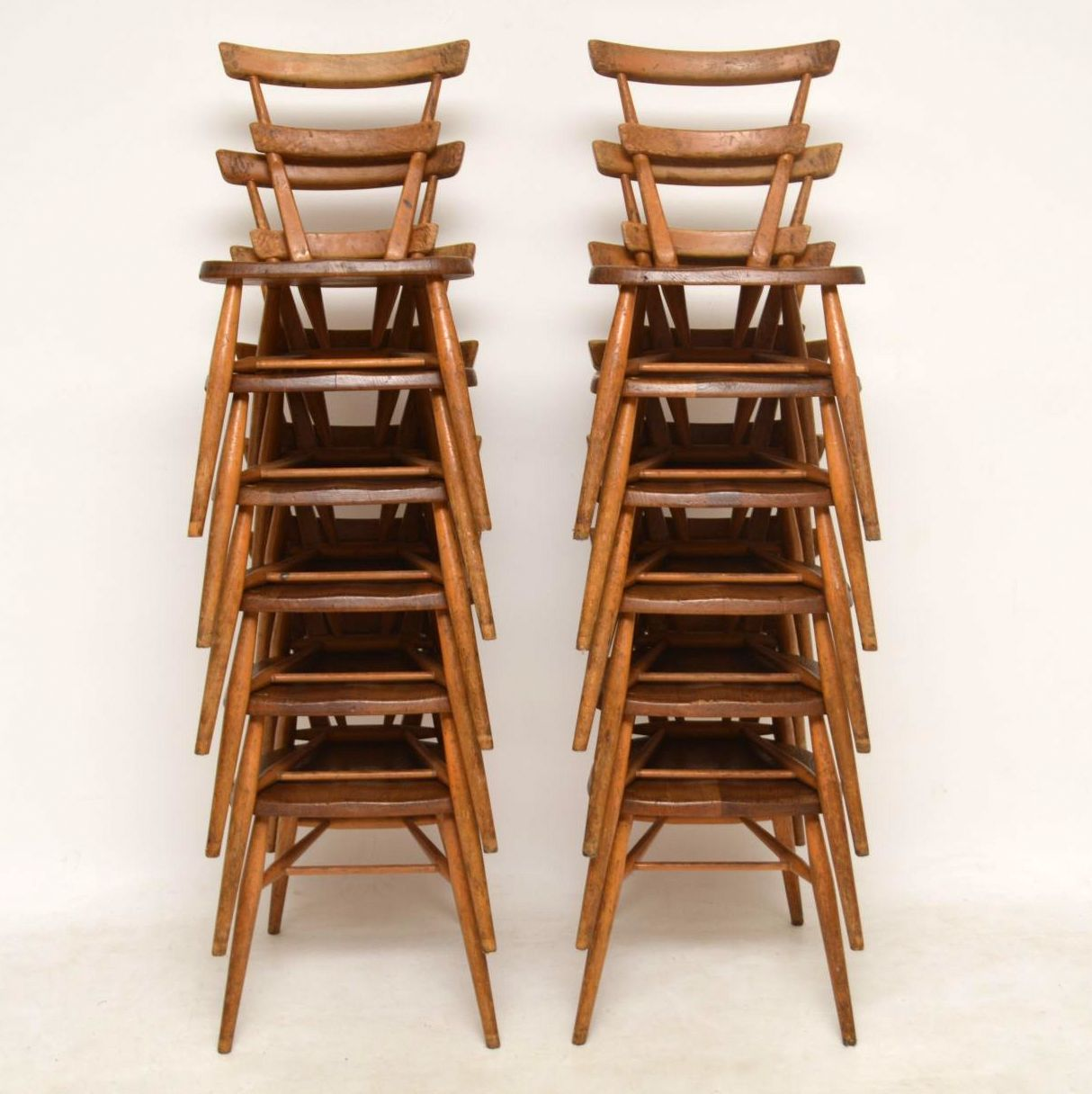 1950 S Ercol Blue Dot Childs Dining Chairs Set Of 12
