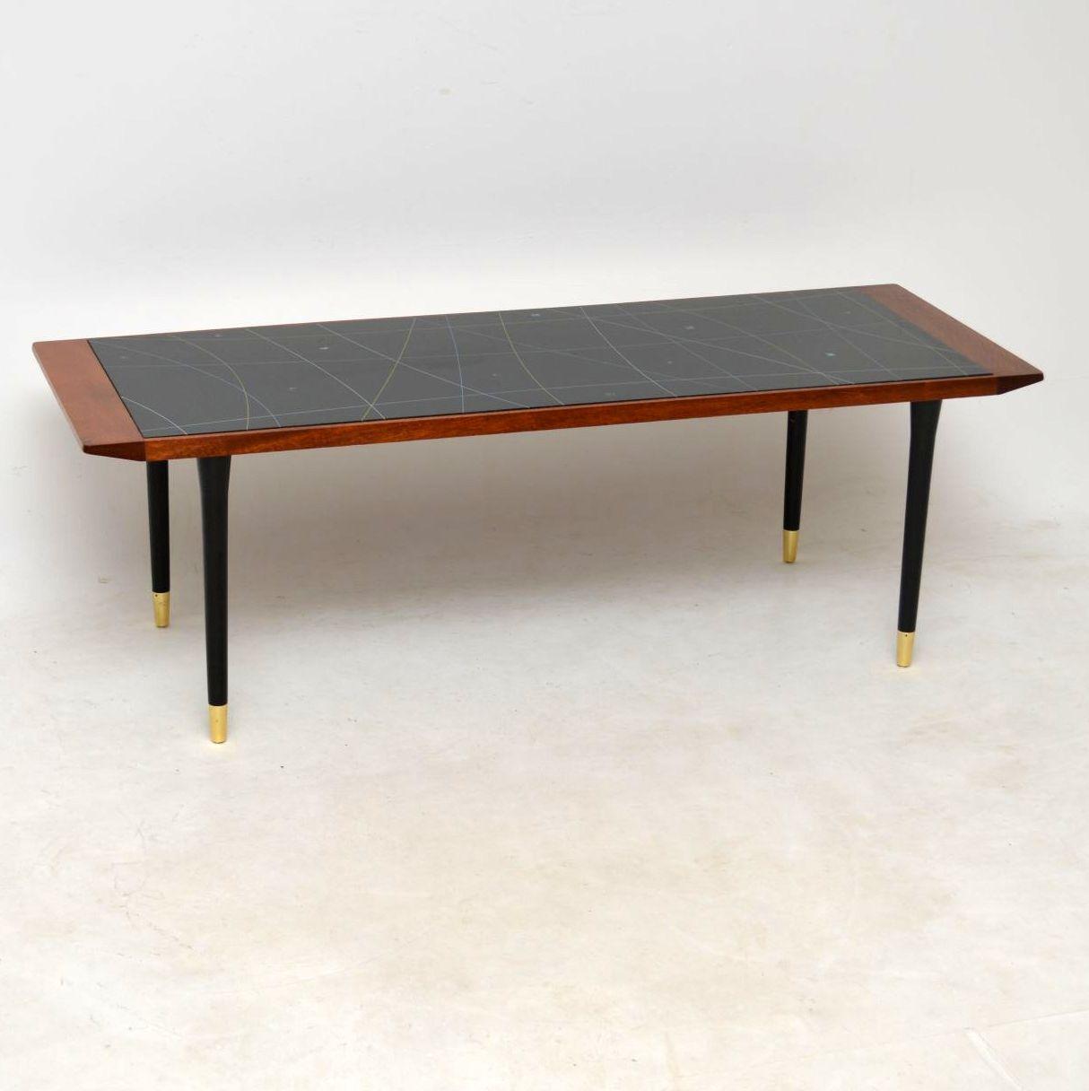 1950's Vintage Teak Glass Top Coffee Table
