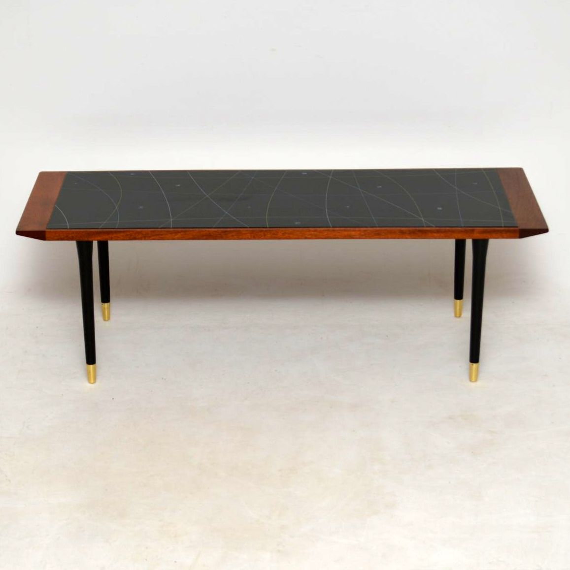 Vintage Teak Coffee Tables: 1950's Vintage Teak Glass Top Coffee Table