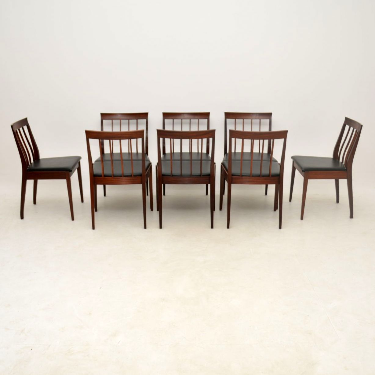 set of eight vintage teak dining chairs by robert heritage