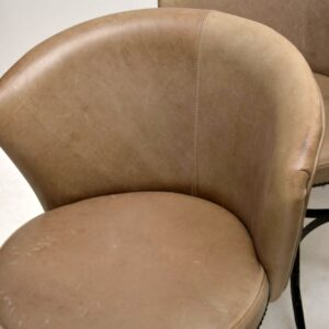 set of six vintage leather swivel chairs