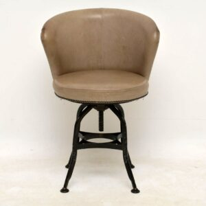 Set of 6 Vintage Industrial Style Leather Swivel Chairs
