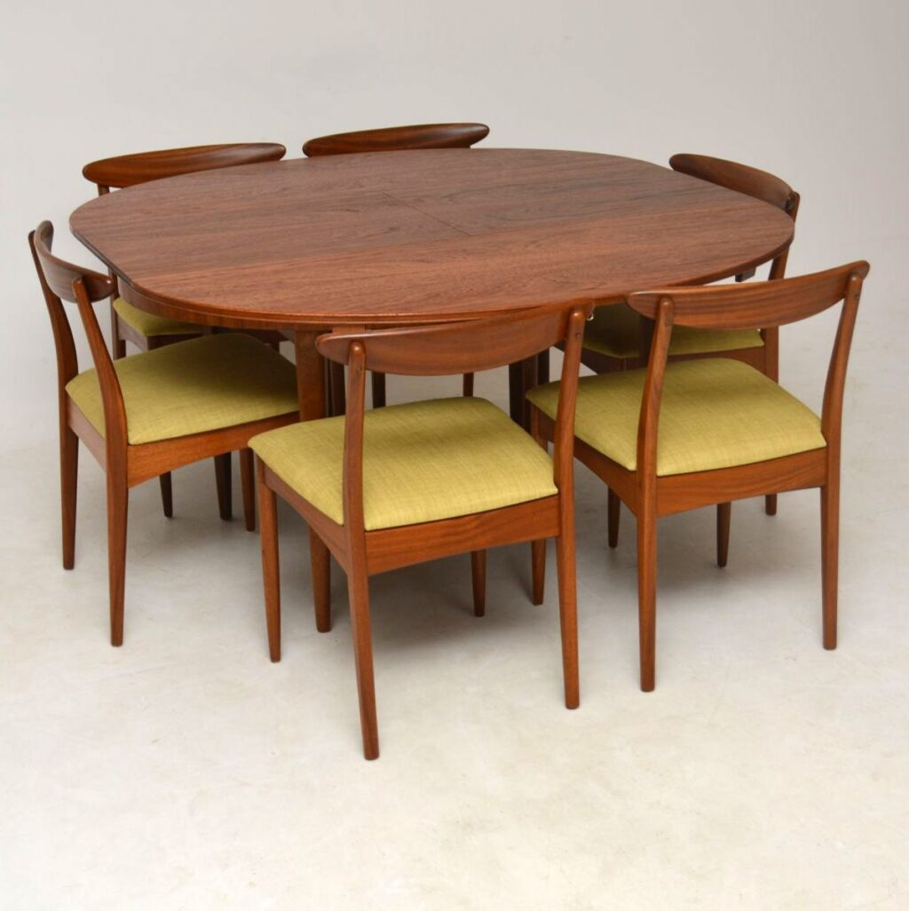 vintage teak dining table and dining vhairs by greaves and thomas