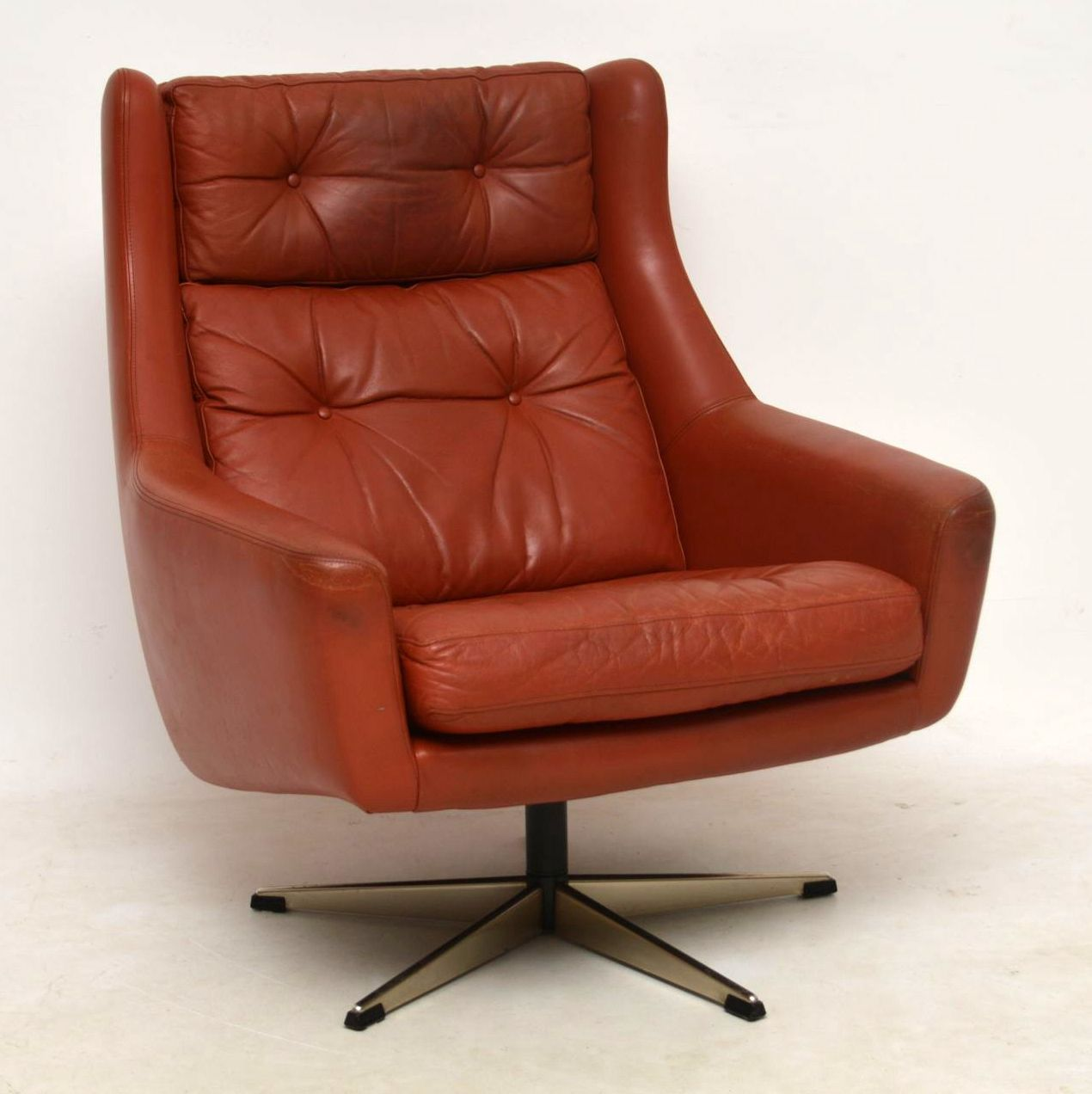 1960's Danish Vintage Leather Swivel Armchair ...