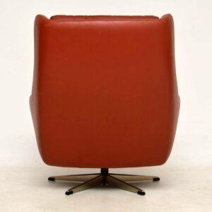 1960's Danish Vintage Leather Swivel Armchair