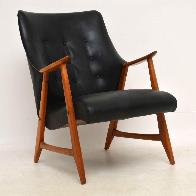 danish vintage teak and leather armchair