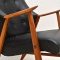 1960's Danish Vintage Leather & Teak Armchair
