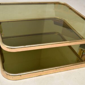 1970's Italian Vintage Brass & Glass Coffee Table