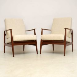 1960's Pair of Vintage Walnut Armchairs