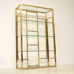 1970's Vintage Italian Brass Bookcase / Display Cabinet