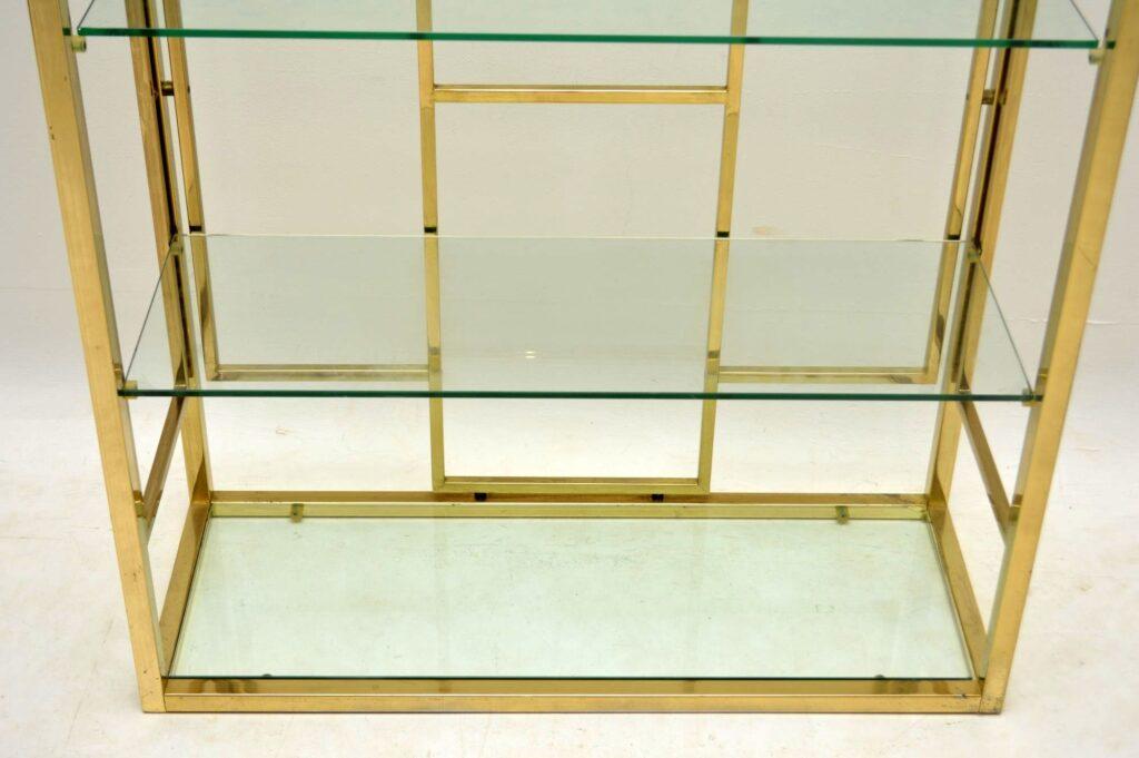 vintage italian brass bookcase display cabinet zevi