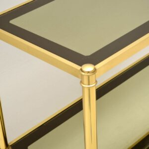 vintage brass side table bookcase cabinet