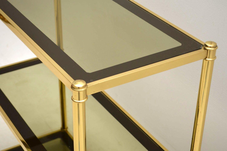vintage brass side table bookcase cabinet
