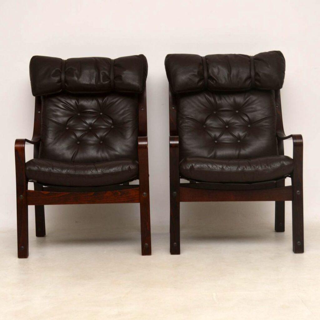 danish vintage leather armchairs
