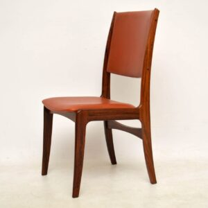 1960's Set of 6 Danish Rosewood and Leather Vintage Dining Chairs