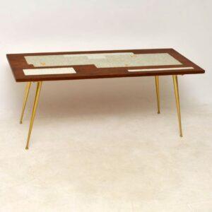 vintage teak tiled top coffee table