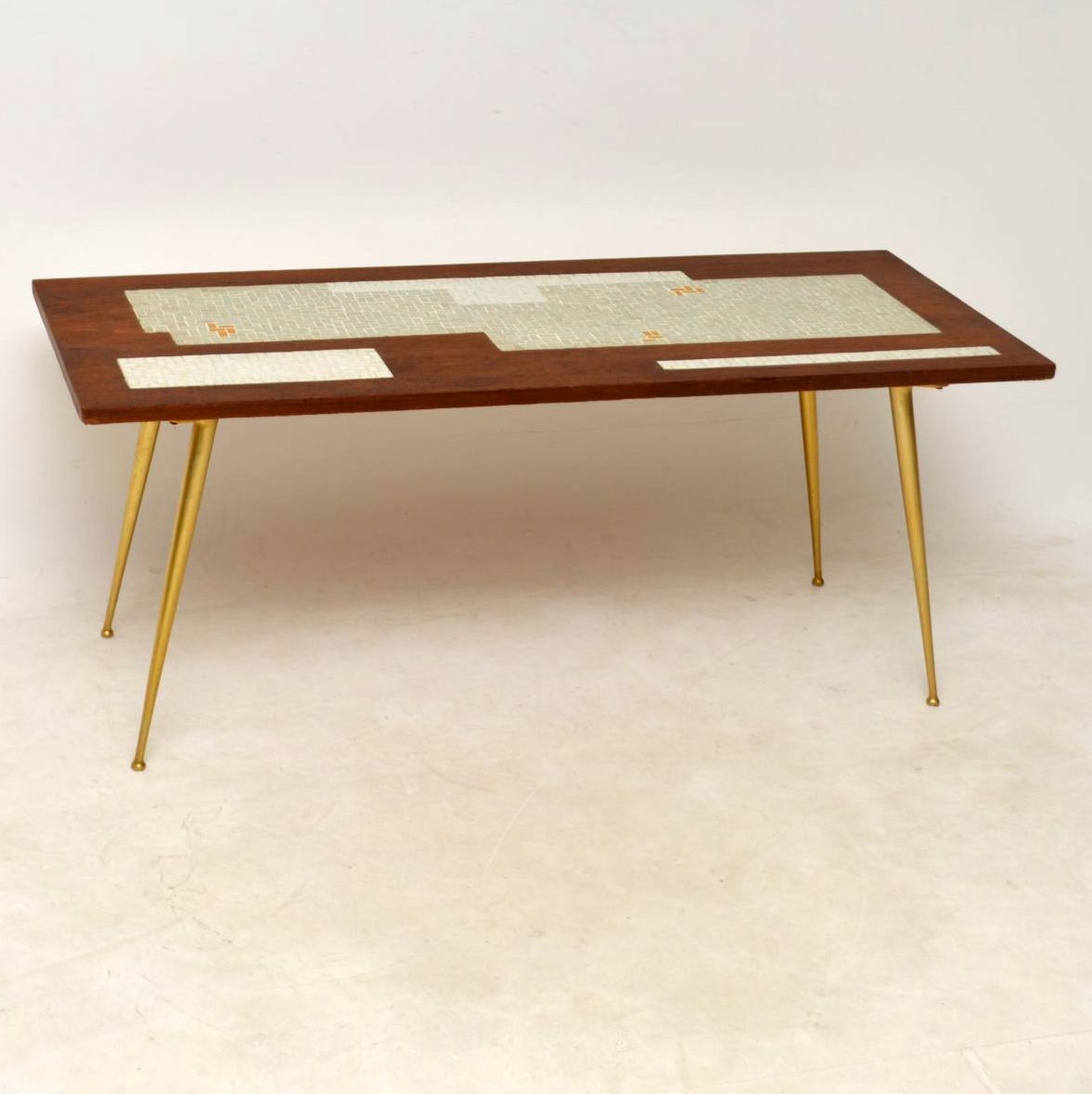 Second Hand Teak Coffee Table: 1960's Teak & Brass Tiled Top Coffee Table