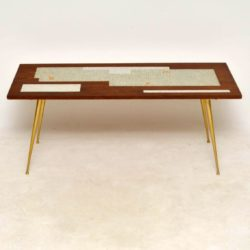 vintage teak tiled top coffee table
