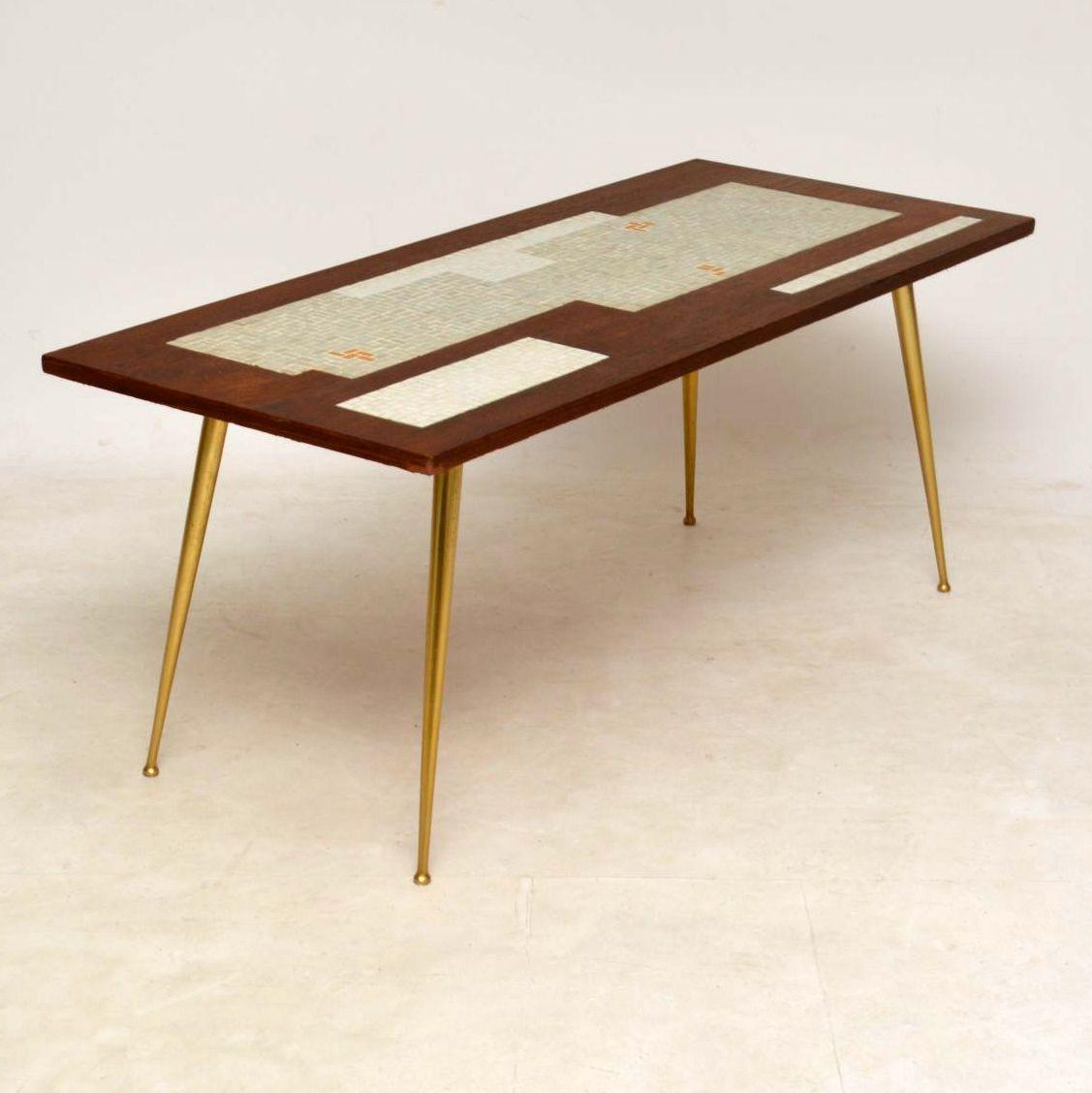 1960 S Teak Brass Tiled Top Coffee Table