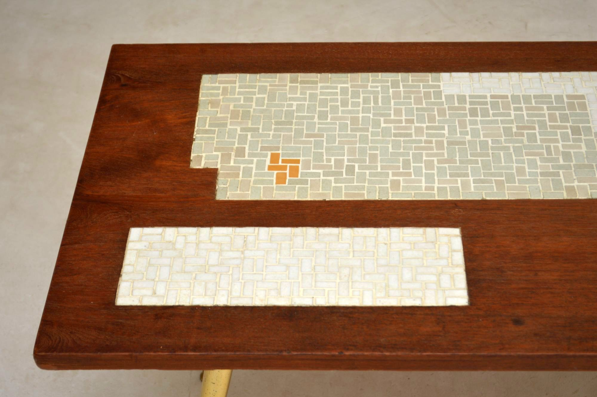 1960 s Teak & Brass Tiled Top Coffee Table