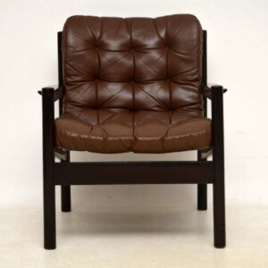 1960's Pair of Vintage Danish Leather Armchairs