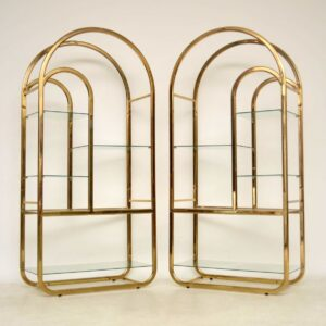 pair of vintage italian brass cabinets