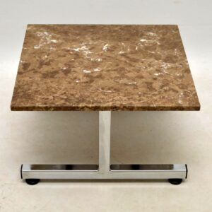 1970's Vintage Marble & Chrome Coffee Table