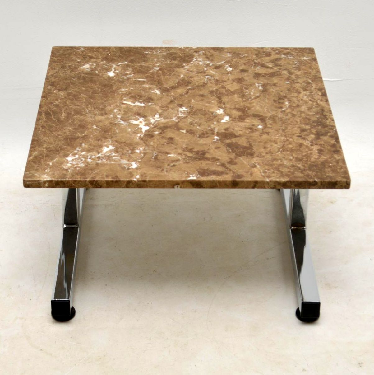 Marble And Chrome Coffee Table: 1970's Vintage Marble & Chrome Coffee Table