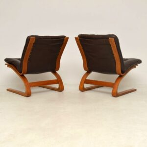 pair of vintage leather danish chairs