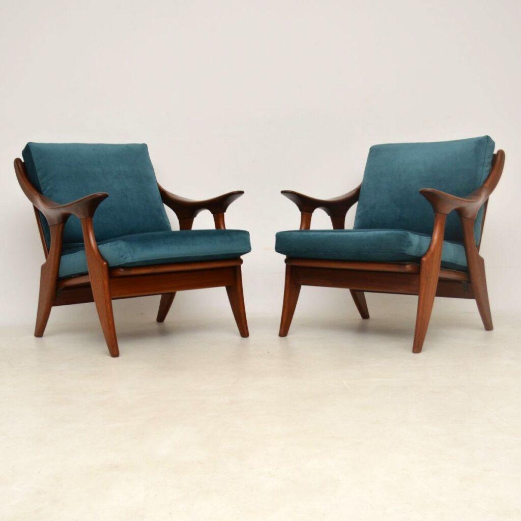 pair of vintage danish armchairs de ster