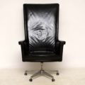 1960's Vintage Leather Swivel Desk Chair by John Home for Howard Keith