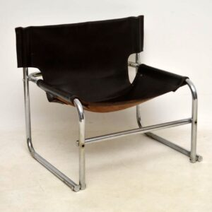 1960's Steel & Leather T1 Vintage Armchair by Rodney Kinsman for OMK