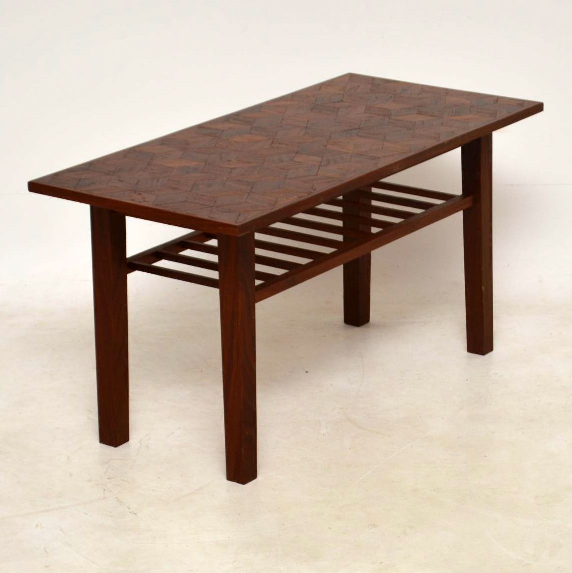 Second Hand Teak Coffee Table: 1960's Teak Vintage Coffee Table With Parquetry Top