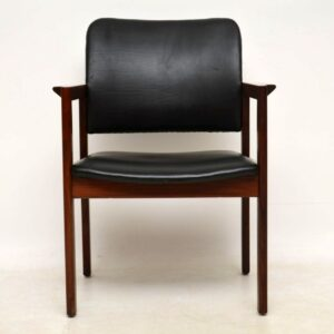 Pair of Vintage Leather and Rosewood Danish Armchairs