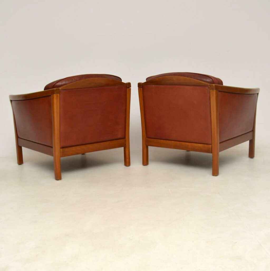 pair of vintage danish leather armchairs