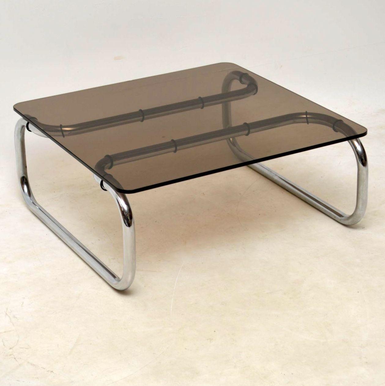 1960's Chrome & Glass Vintage Coffee Table By Rodney