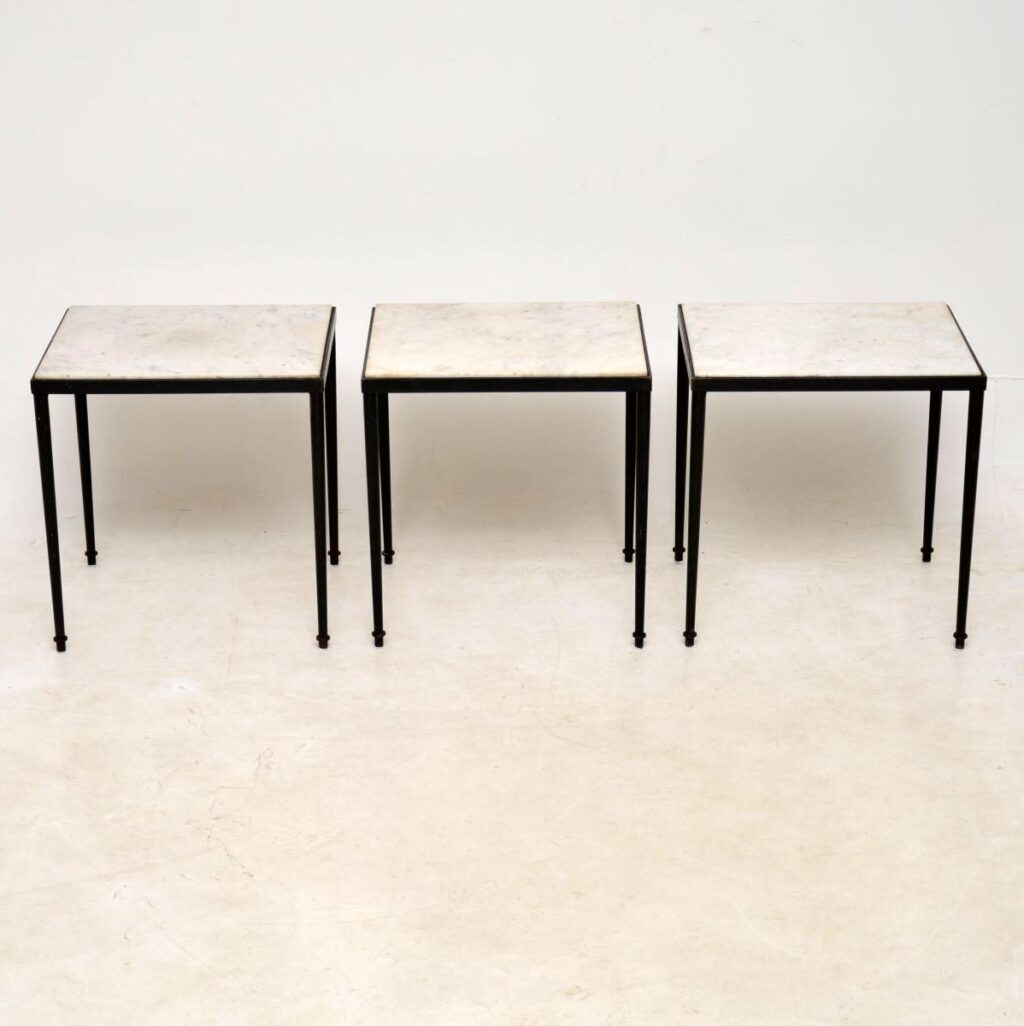 vintage marble top nesting coffee table side tables