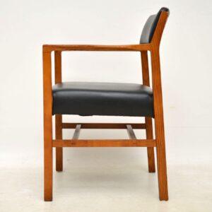 pair of vintage elm armchairs