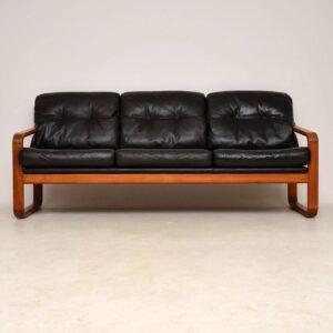 1960's Pair of Danish Leather & Teak Armchairs