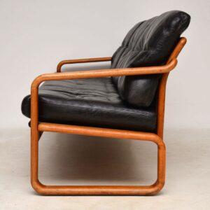 1960's Vintage Danish Teak & Leather Sofa