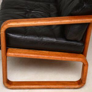 vintage danish teak and leather sofa